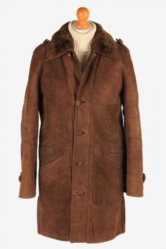 Women's Sheepskin Fur Lining Button Up Vintage Size M Dark Brown C3067