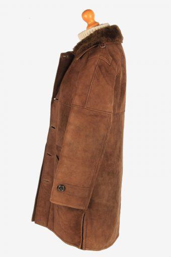 Women's Sheepskin Fur Lining Button Up Vintage Size M Dark Brown C3067-163542