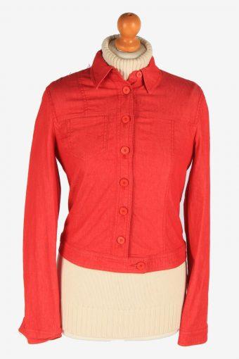 Women's Armani Shirt Jacket Button Up Vintage Size XS Red C3070