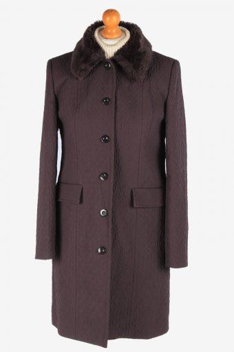 Women's Lightweight Coat Fur Collar Vintage Size M Fume C3072