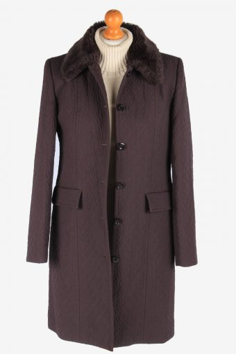 Women's Lightweight Coat Fur Collar Vintage Size M Fume C3072-163572