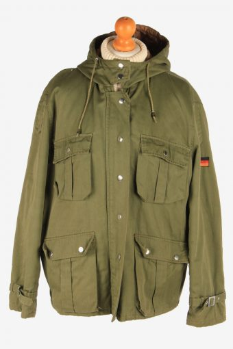 Women's Army Coat German Flag Hooded Vintage Size L Green C3073
