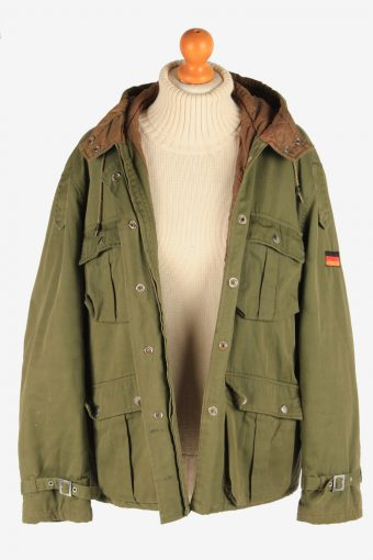 Women's Army Coat German Flag Hooded Vintage Size L Green C3073-163578