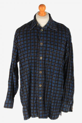 Corduroy Shirt Printed Long Sleeve Button Up Navy M