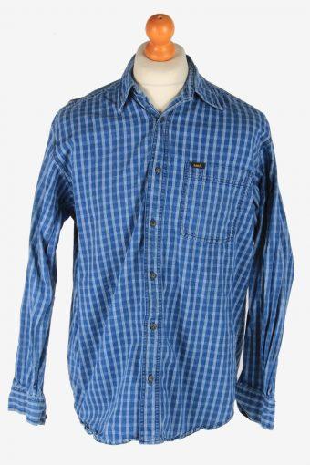Corduroy Lee Shirt Pocket Long Sleeve Button Up Blue M