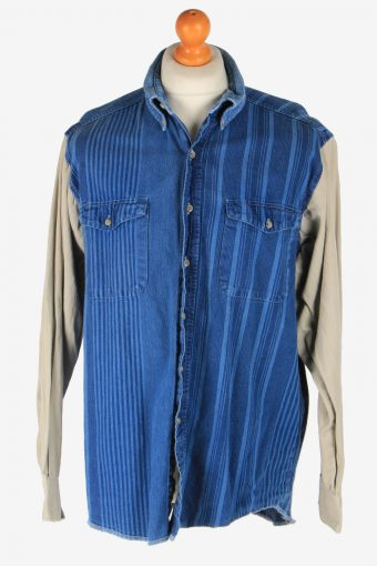 Wrangler Western Shirt Mens Pocket Long Sleeve Button Up Vintage Size XL Blue SH4035-163779