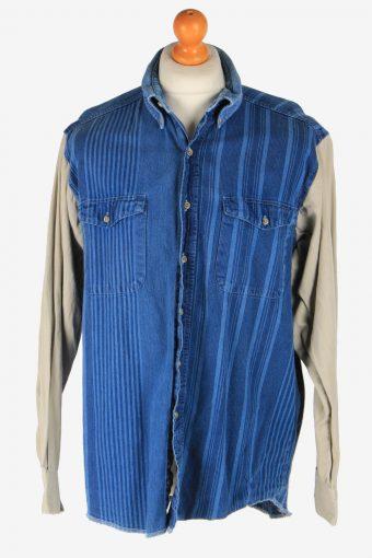 Wrangler Flannel Western Shirt Mens Pocket Long Sleeve Button Up Blue L