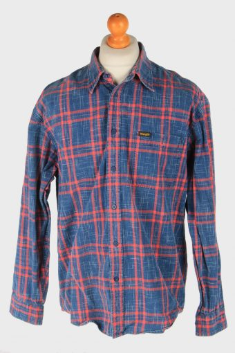 Wrangler Cotton Shirt Pocket Long Sleeve Button Up Vintage Size L Blue SH4038-163791