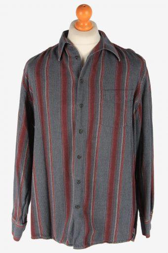 Mens Long Sleeves Striped Shirt Thick Cotton Vintage Size L Multi SH4041-163803