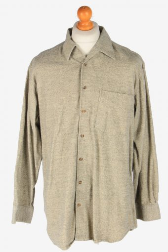 Flannel Shirt 90s Thick Cotton Long Sleeve Beige XL