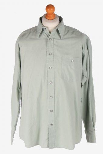 Mens Long Sleeves Flannel Shirt Plain Thick Cotton Vintage Size L Grey SH4044-163815