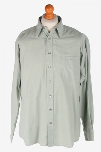 Flannel Shirt 90s Thick Cotton Long Sleeve Grey L