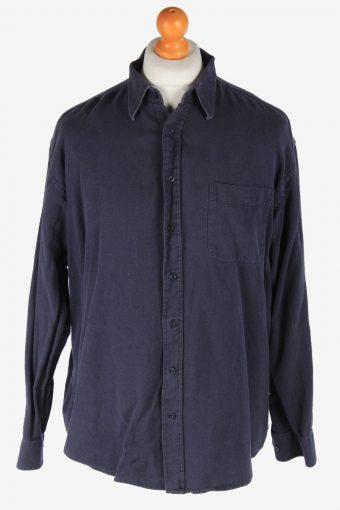 Mens Long Sleeves Flannel Shirt Plain Thick Cotton Vintage Size XL Fume SH4048-163831