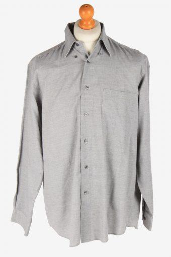 Mens Long Sleeves Flannel Shirt Plain Thick Cotton Vintage Size M Light Grey SH4053-163851