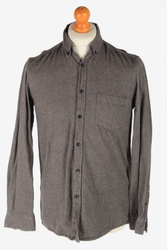 Mens Long Sleeves Flannel Shirt Plain Thick Cotton Vintage Size M Dark Grey SH4054-163855