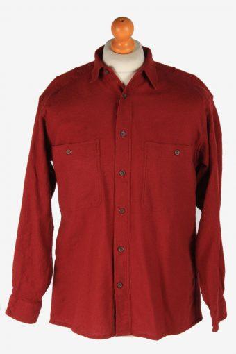 Mens Long Sleeves Flannel Shirt Plain Thick Cotton Vintage Size L Maroon SH4060-163879