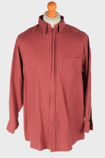 Mens Long Sleeves Flannel Shirt Caton Full Zip Vintage Size L Rose SH4061-163883