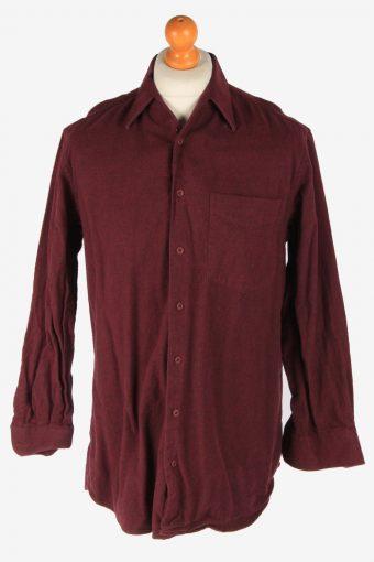 Mens Long Sleeves Flannel Shirt Plain Thick Cotton Vintage Size XL Purple SH4063-163891