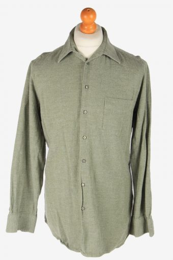 Mens Long Sleeves Flannel Shirt Plain Thick Cotton Vintage Size L Light Green SH4064-163895