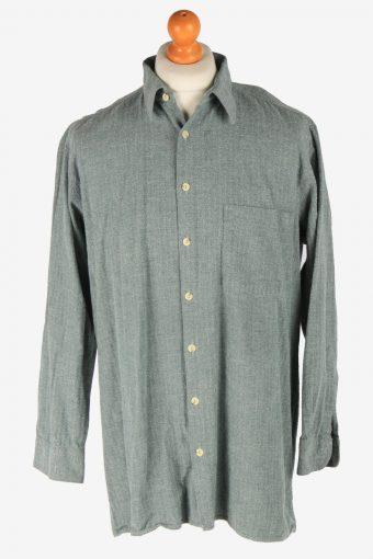 Mens Long Sleeves Flannel Shirt Plain Thick Cotton Vintage Size XXL Green SH4065-163899