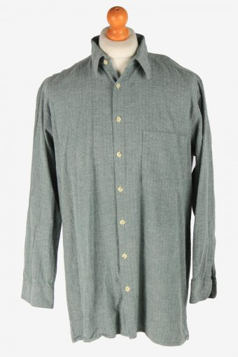 Flannel Shirt 90s Thick Cotton Long Sleeve Green XL