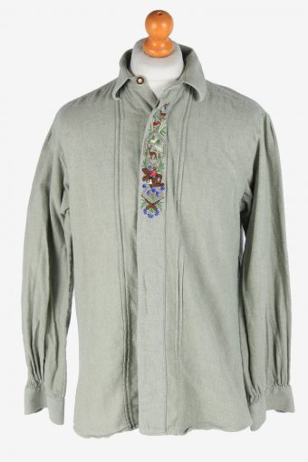 Cotton Shirt Long Sleeve Button Up Vintage Size L Green SH4071-163923