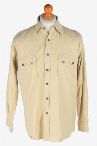 Flannel Shirt 90s Thick Cotton Long Sleeve Beige M