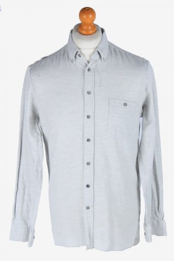 Flannel Shirt 90s Thick Cotton Long Sleeve Light Grey M