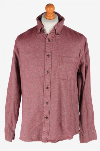 Flannel Shirt 90s Thick Cotton Long Sleeve Maroon L