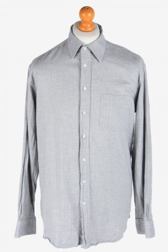 Flannel Shirt Long Sleeve Thick Cotton Button Up Vintage Size XXL Grey SH4083-163971