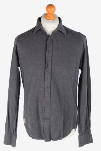 Flannel Shirt Long Sleeve Thick Cotton Button Up Vintage Size L Dark Grey SH4084-163975