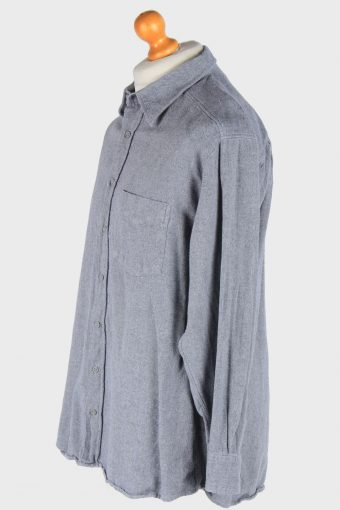 Flannel Shirt Long Sleeve Thick Cotton Button Up Vintage Size XL Grey SH4085-164220