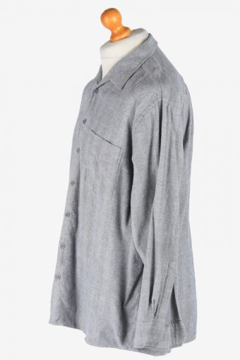 Flannel Shirt Long Sleeve Thick Cotton Button Up Vintage Size XL Grey SH4086-164224