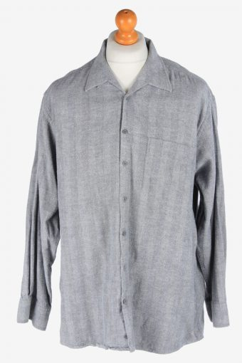 Flannel Shirt 90s Thick Cotton Long Sleeve Grey XL