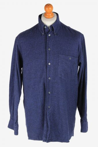 Flannel Shirt 90s Thick Cotton Long Sleeve Navy M