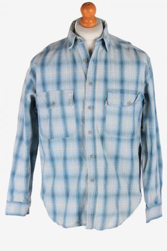 Levi's Flannel Shirt 90s Thick Cotton Long Sleeve Blue M