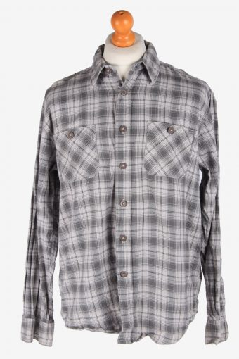 Wrangler Flannel Shirt 90s Thick Cotton Long Sleeve Grey L