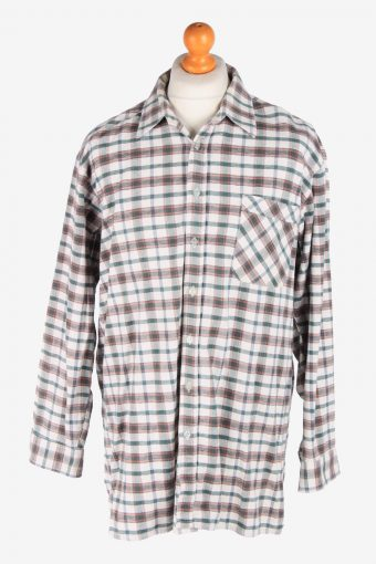 Flannel Shirt 90s Thick Cotton Long Sleeve Multi XXL