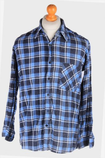 Flannel Shirt 90s Thick Cotton Long Sleeve Navy L