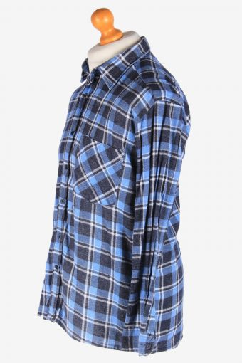 Men's Long Sleeves Flannel Shirt Button Up Vintage Size L Navy SH4145-164876