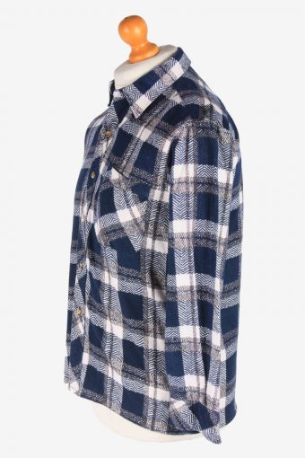 Men's Long Sleeves Flannel Shirt Thick Cotton Button Up Vintage Size M Navy SH4148-164888