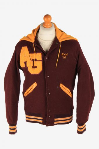 Mens Baseball Jacket College Varsity Vintage Size S Purple C2962