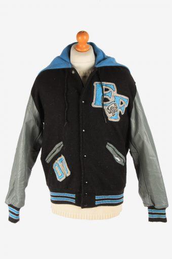 Mens Baseball Jacket College Varsity Vintage Size M Black C2963