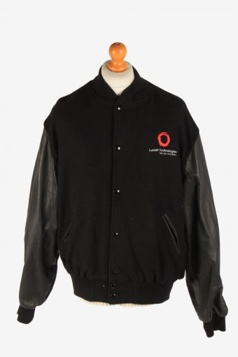 Mens Varsity Baseball Jacket USA College Vintage Size XXL Black C2969