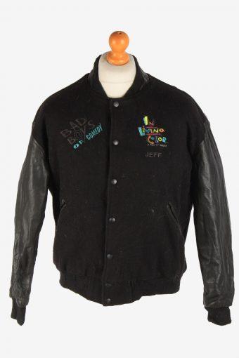 Mens Baseball Jacket College Varsity Vintage Size M Black C2971