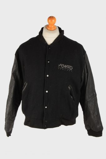 Mens Baseball Jacket College Varsity Vintage Size S Black C2972