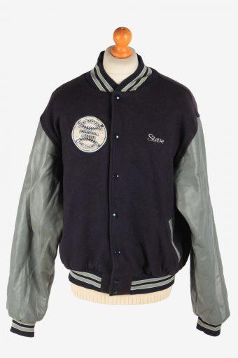 Mens Varsity Baseball Jacket USA College Vintage Size XXL Navy C2973