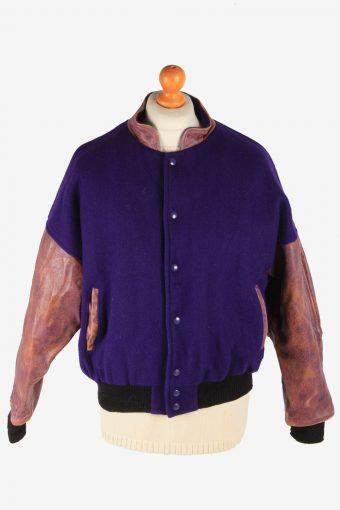 Mens Varsity Baseball Jacket USA College Vintage Size XL Purple C2983