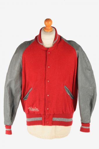Mens Varsity Baseball Jacket USA College Vintage Size M Red C2985
