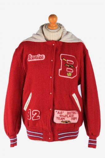 Womens Baseball Jacket College Varsity Vintage Size L Red C2987
